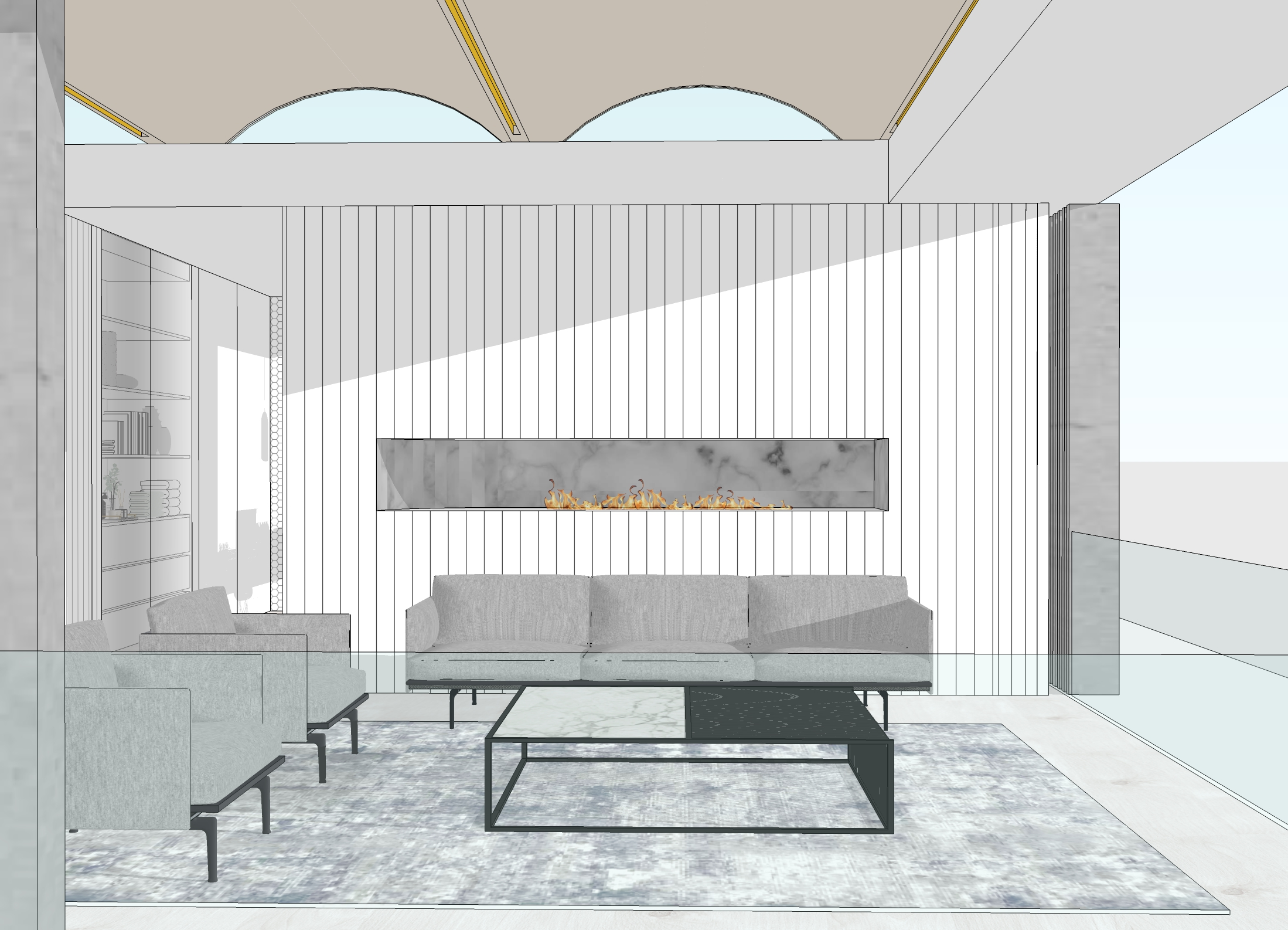 22 Coogee House – Living area sketch