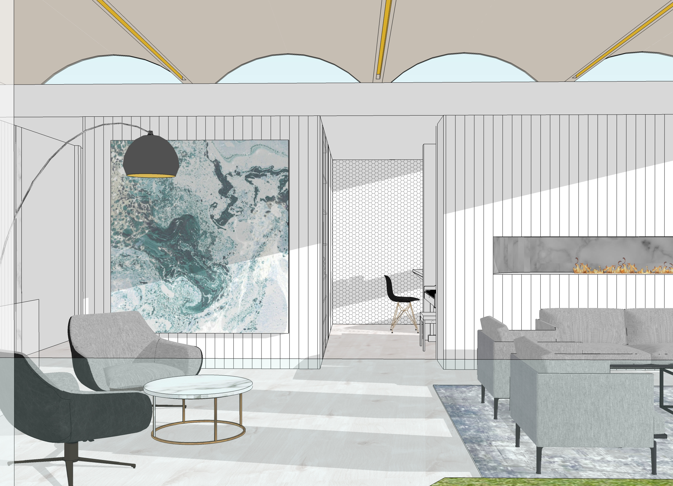 21 Coogee House – Seating area sketch